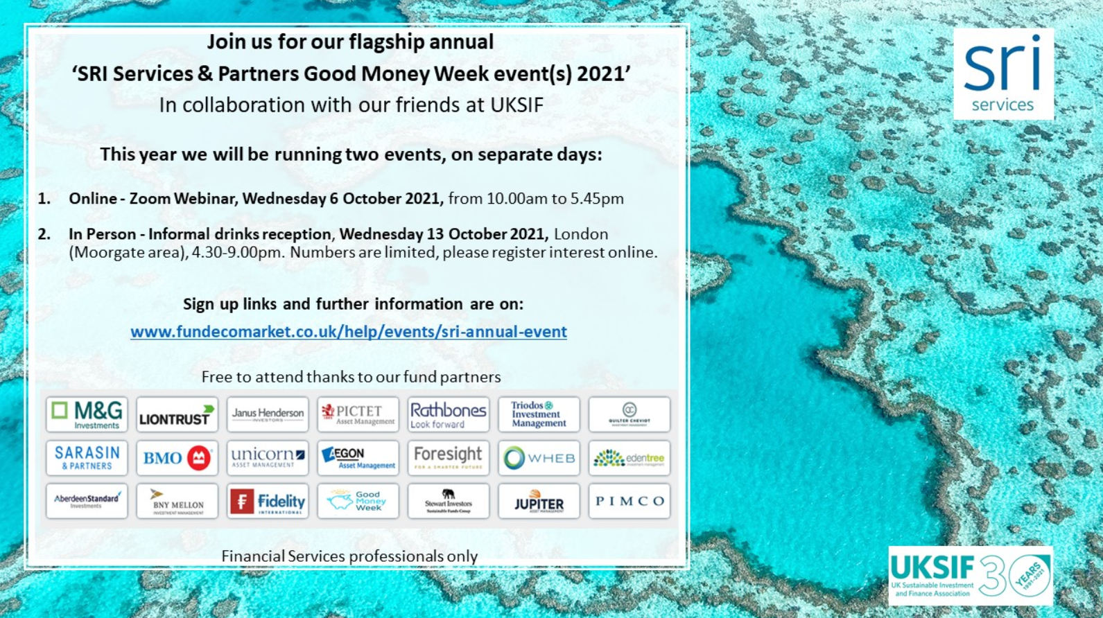 SRI Services and Partners annual Good Money Week event(s) - Preview Image